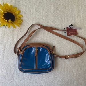 NWT Valentina Blue Leather Crossbody Purse